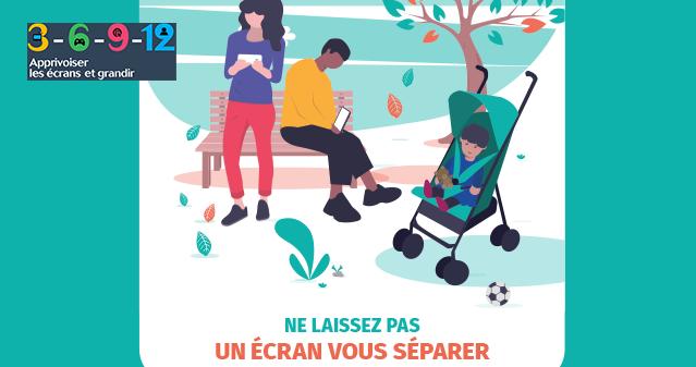 Une affiche pour sensibiliser les parents à l'usage de leurs smartphones avec 3-6-9-12